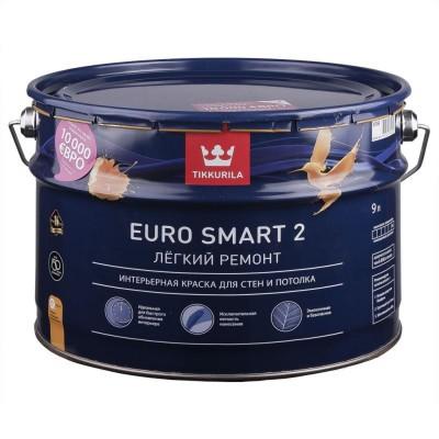 Краска моющаяся Tikkurila Euro Smart 2 белый (база А) 9л купить по цене 2 970 руб.