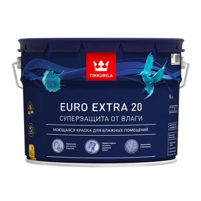 Краска моющаяся Tikkurila Euro Extra 20 белый (база А) 9л купить по цене 5 200 руб.