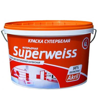 Краска Акриловая Супербелая Superweiss 14кг купить по цене 750 руб.