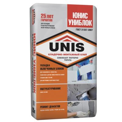 Кладочно-монтажный клей Юнис Униблок 25кг купить по цене 180 руб.