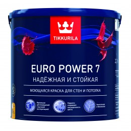 Краска моющаяся Tikkurila Euro Power 7 белый (база А) 2,7л
