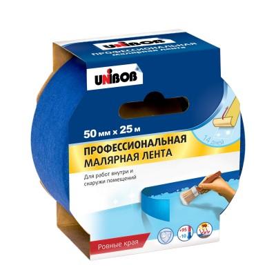 Скотч малярный профессиональный синий Unibob 50мм*25м купить по цене 300 руб.